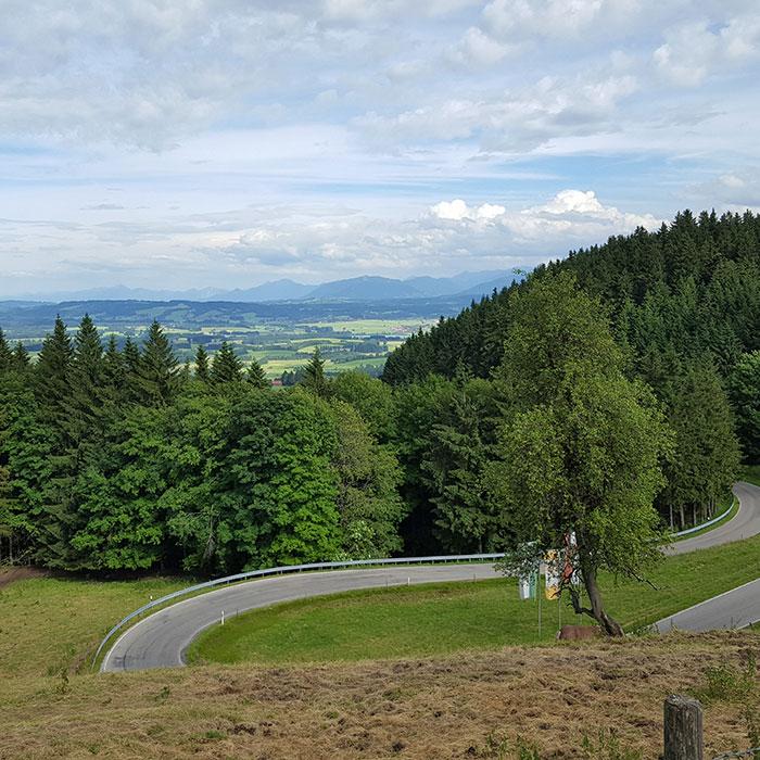 Blick vom Auerberg auf die Alpen